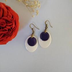 Boucles d'oreilles porcelaine de forme ovale et cercle bleu violet Johanne