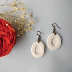 Boucles d'oreilles porcelaine de forme ovale Ambre