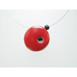 Collier artisanal en cérmique raku rouge